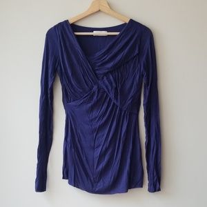 Bailey 44 Sz S Freeze Top Shirt Blouse Blue Wrap